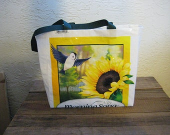 Recycled Upcycled Reusable Medium Bird Food Tote Bag Market Purse