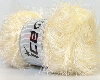100 Gram Eyelash Yarn - Cream #22701 Ice Off-White Ivory Fun Fur 164yds