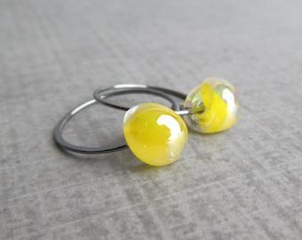 Lemon Yellow Earrings, Bright Lemon Drop Hoops, Lemon Yellow Hoop Earrings, Small Hoops, Oxidized Sterling Silver Earrings, Yellow Lampwork