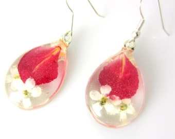 White Forget Me Nots and Pomegranate Petals Earrings, Pressed Flower Jewelry, Real Flowers, Resin, (1641)