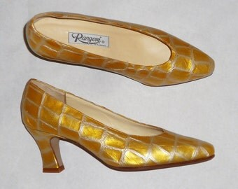 Womens  Vintage  Rangoni of Florence  Mid  Heel Reptile Skin Leather  Pump Shoes size 7 Unworn N.O.S.Golden Yellow