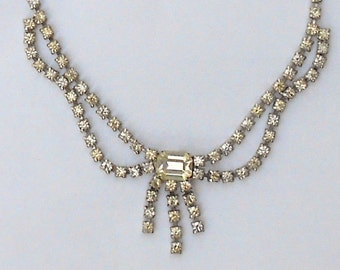 Vintage Clear Rhinestone Chandelier Festoon Statement Adjustable Choker Necklace  by Duane Bridal Wedding Prom Art Deco Great Gatsby Flapper