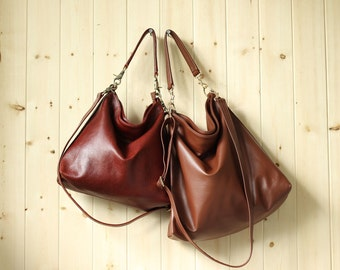 Medium leather bag, Brown leather tote bag - Alice
