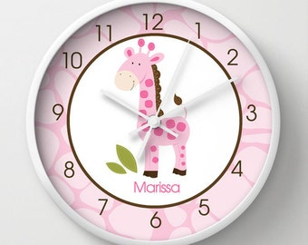 Pink Giraffe 10-inch Girls Giraffe Print Jungle Safari Nursery Wall Clock Personalized with Name