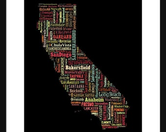 California Typography Map Poster Print Color - Black Background