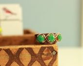 Jade Green and Copper Adjustable Ring - Statement Ring - Fall Jewelry