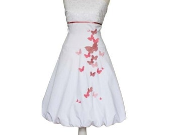 LITTLE QUEENS - Wedding dress in white, butterflies, white, lace, bridal, bridesmaid dusky pink, pink, romantic wedding, Sundress