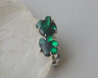 Colombian Trapiche Emerald Slice Earrings in 14 K White Gold