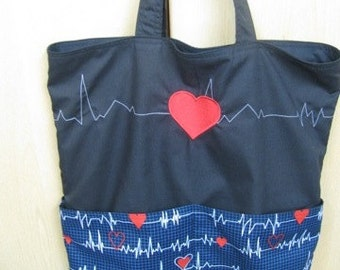 Heart Monitor EKG Eco Friendly Tote, Purse, market bag, bag