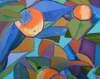 "Wall Art, Ready to Hang Art, Abstract Art, Orange Art, Fruit Art ""Kaleidoscope Oranges"" by AndolsekArt"