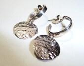 Sterling Silver Hoop and Discs Earrings on Etsy