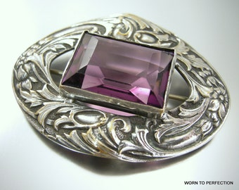 Victorian Revival Silver Colored Sash Pin with Purple Glass