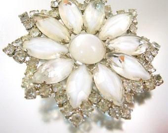 White Givre Glass and Rhinestone Flower Brooch