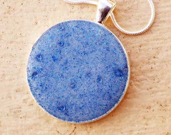 Silver Glitter Resin Pendant Necklace, Embossing, Pearl Ex Powders, Fashion Jewellery