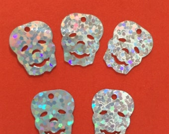 New Sequins - Silver Hologram Skulls - 25 pieces