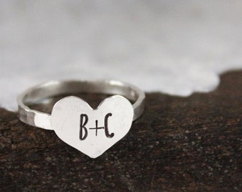 Valentine's Day gift for her, heart ring, initial ring, stacking ring, sterling silver, fine silver ring, tag you're it jewelry, wife