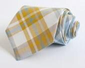 men's steel blue, gray, and mustard organic madras plaid necktie