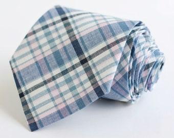 men's pale pink and navy organic madras plaid necktie
