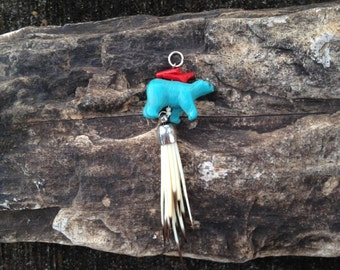 Carved Zuni Fetish Bear And Porcupine Quill Pendant OOAK