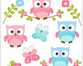 ON SALE owls clip art- kids, birthday parties Digital clip art, INSTANT Download, Owls and Butterfly clipart, owl clip art, pink, blue
