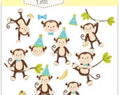 ON SALE monkey clip art - monkeys boy, baby monkey party boys clip art, Instant download clip art