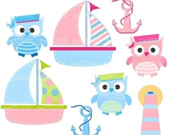 ON SALE Sailboat and owls Digital clip art - owls clip aer, cute sailer clip art, Sailboat and owls2, Instant download clip art