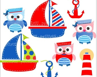 ON SALE Sailboat and owls Digital clip art, cute navy clip art, boat clip art, sailing, sailer clip art, owls clip art, ahoy clipart
