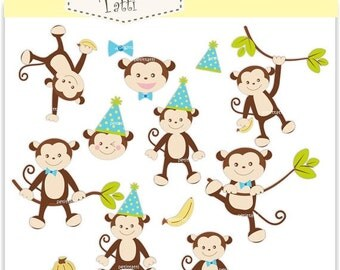 ON SALE Monkey Clip Art // Monkeys boy, Jungle Animals,baby monkey party boys clip art, Instant download clip art