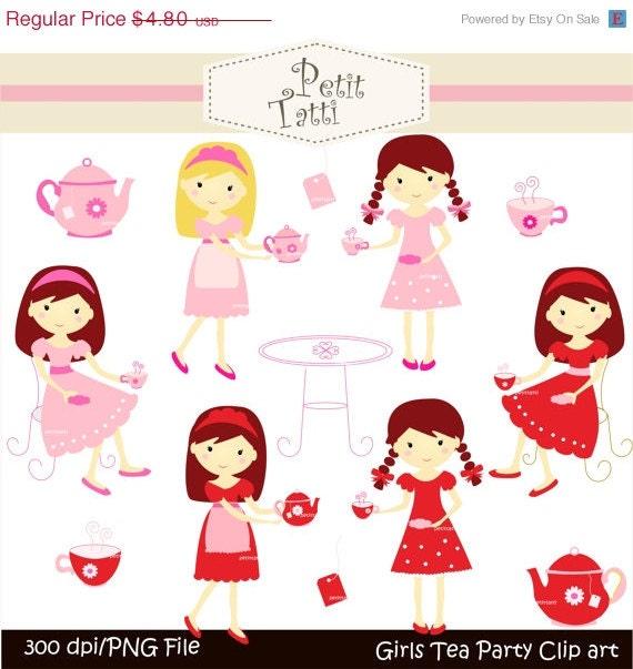 ON SALE girls tea party clip art - JPEG and Png, instant download, Digital clip art,Tea party girls, pink girls clip art