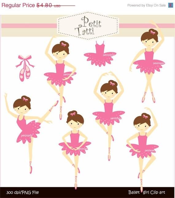 ON SALE ballet clipart, ballet girls clip art, pink girls, digital clip art, ballet girl