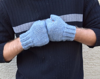Men's fingerless gloves blue grey winter fingerless gloves Father's Day gift knit gloves husband boyfriend gift for him valentines ideas