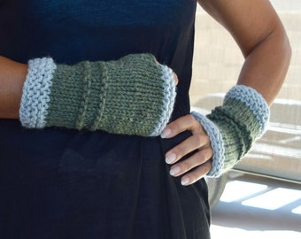 Chunky arm warmers sage green gray fingerless gloves gift for her