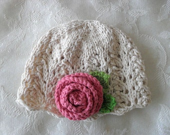 Baby Hat Knitting Knit Baby Cloche Cotton Knitted Hat with Rose Hand Knitted Baby Clothing Children Clothing  Knitted Lace Baby Hat