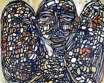 24x24 Butterfly angel wings painting large original abstract mosaic art on canvas 24x24