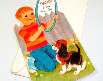 Vintage Easter Card, From Son to Daddy, Unused Hallmark Holiday Greeting Card, Boy and Dog, Envelope Included  (522-15)