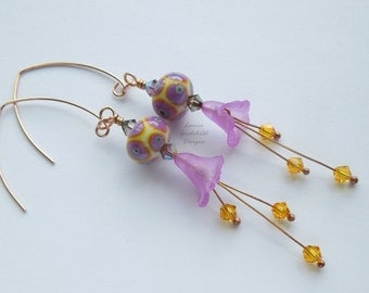 Bronze lily earrings, harlequin earrings, lilac flower earrings, bronze lampwork earrings