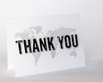 World Map Thank You Card Travel Wedding A6 Folded Globe Trotter