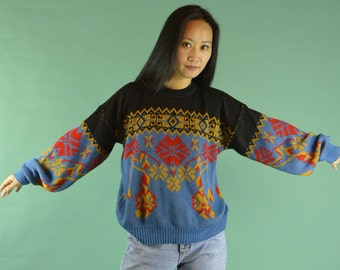 70s Vintage Oversized Sweater / Vintage Ski Sweater / Pullover Womens Sweater / 1970s Pullover Tribal Snowflake Ski Sweater M / L
