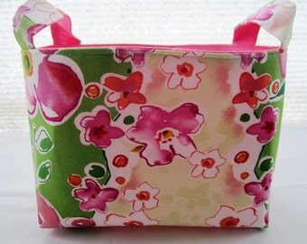 Organizer Storage Basket Bin Container Fabric  - Spring Flowers - Ready to Ship