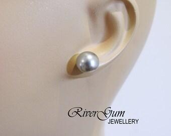 Pearl Stud Earrings, 10mm Pale Grey, Sterling Silver, Swarovski Crystal Pearls - Dove