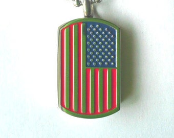 "Stainless Steel ""Dogtag Style Flag"" Cremation Urn on 24"" Ball-Chain Necklace - with Velvet Pouch"