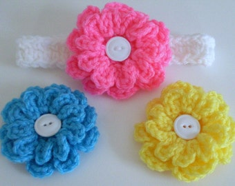 Baby Girl Headband with 3 Interchangeable Flowers, Newborn to Toddler, Crochet Headband Set