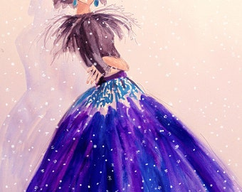 Purple Silk Skirt . Beautiful Original art