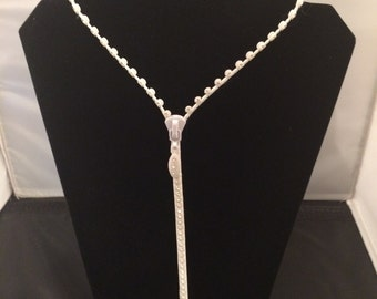 Zipper Necklace That Zips, White Rhinestone