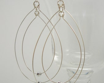 Double Hoop Earrings, Silver Beaded Jewelry, Bridesmaids Gift, FFT Original, Made to Order