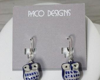 Sterling Silver Porcelain Owl Earrings