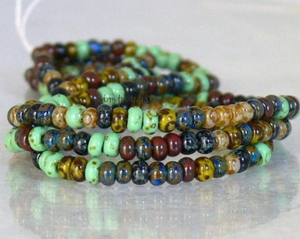 8/0 Czech Aged Mosaic Picasso Mix 20-Inch Long Strand Glass Seed Beads