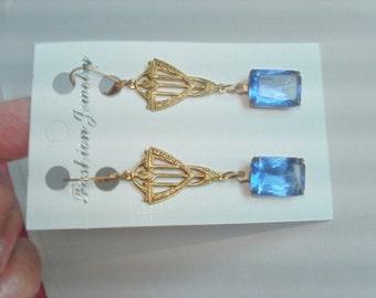 Royal Blue Glass Dangle Earrings Jewelry Gold Tone .