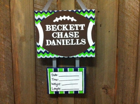 Seattle seahawks inspired baby boy football by lillouhandmade for Baby boy hospital door decoration
