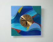 Rays From The Deep Fused Glass Clock
